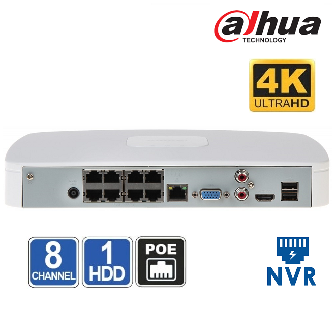 NVR 8 CHANEL Dahua NVR2108-8P-4KS2 - 8MP + 8xPoE