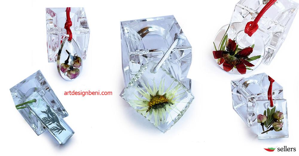 Бижута от кристална епоксидна смола и живи цветя