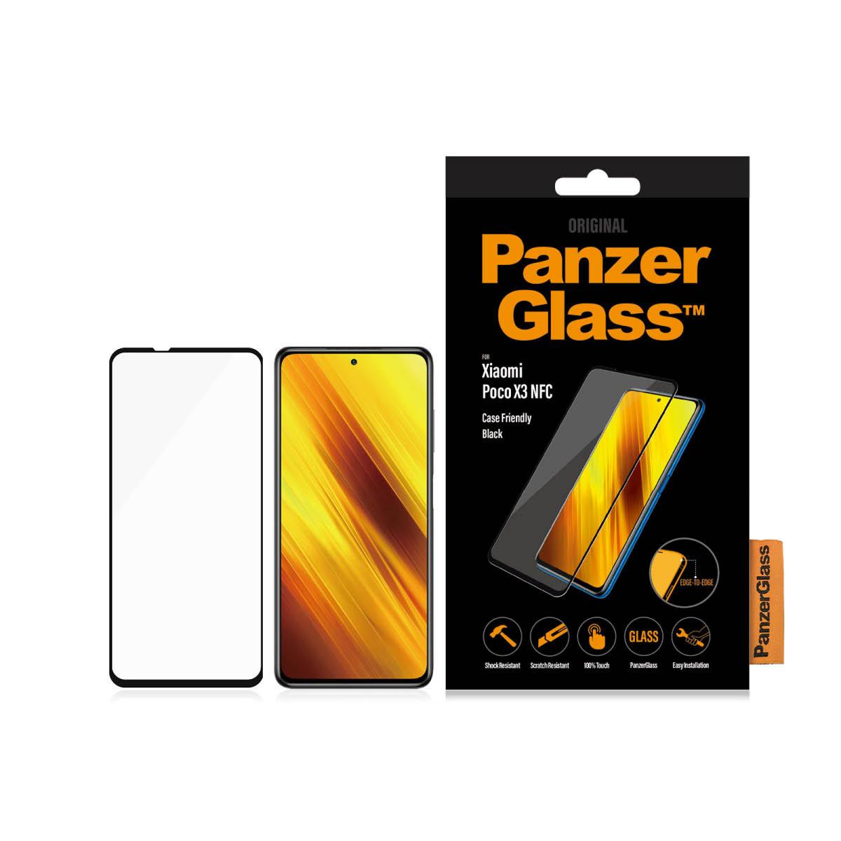 Стъклен протектор PanzerGlass за  Xiaomi Poco X3 , caseFriendly - Черен