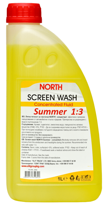 NORTH лятна течност за чистачки концентрат 1:3 1L
